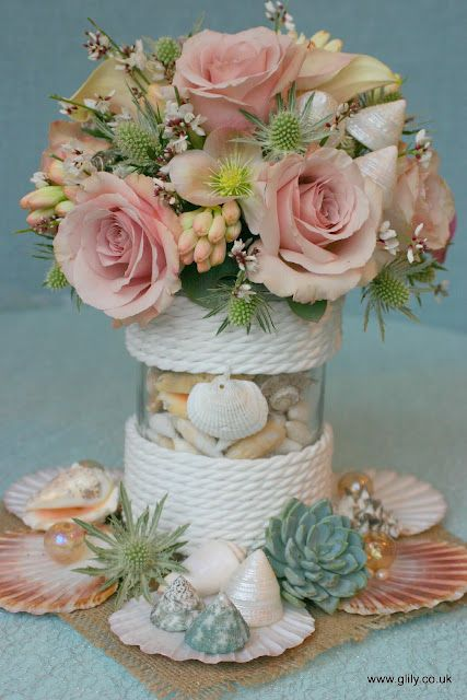 Diy Sea Shell Floral Wedding Table Centres Wrap Glass Vase In Rope And Hot Glue Beach And