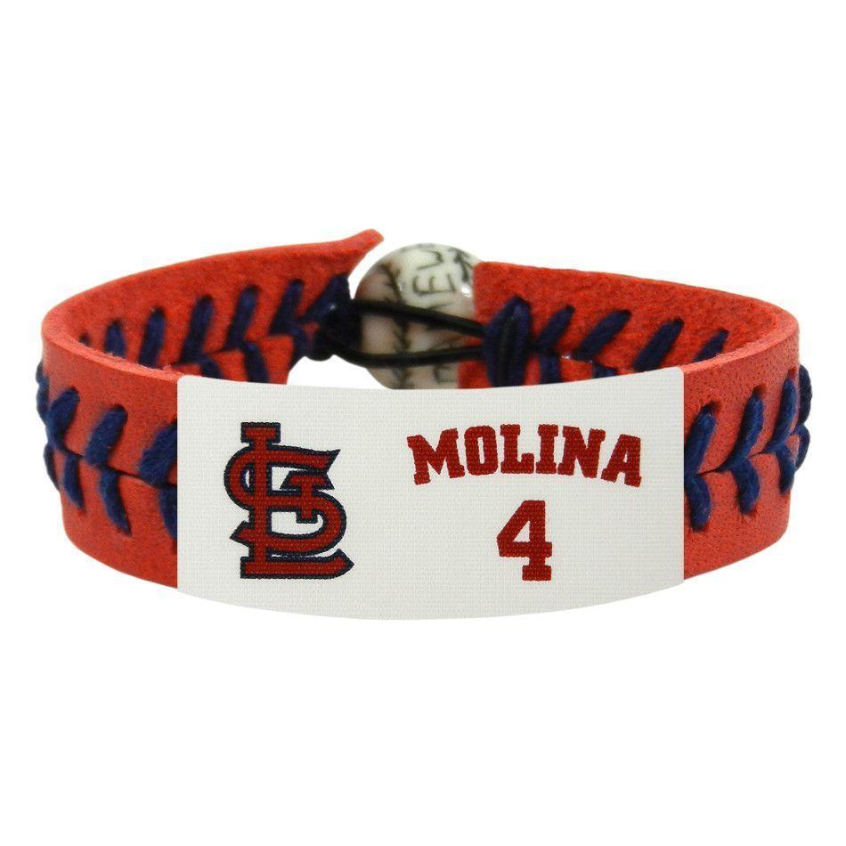 St Louis Cardinals Yar Molina Red Navy Leather Bracelet