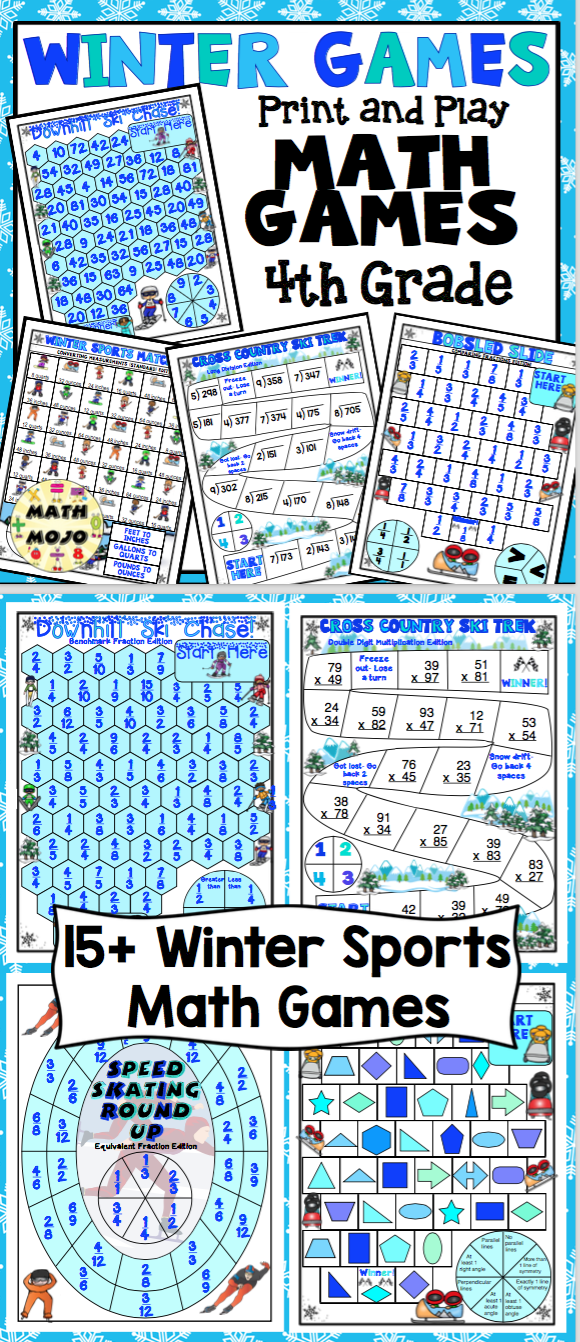 Winter Games Print and Play Math Games and Centers: 4th Grade ...