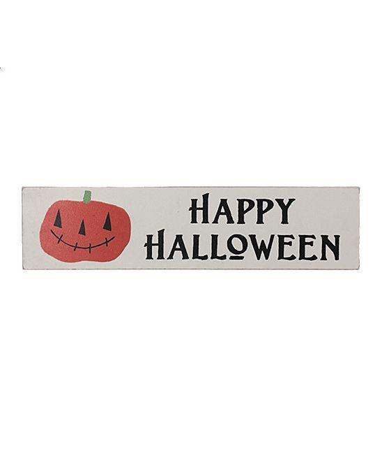 White 'Happy Halloween' Smiling Pumpkin Box Sign