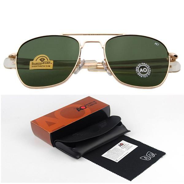 f97dfad6cd4 FuzWeb Sunglasses Men American Army Military er AO For Male Optical Glass  Lens RS263