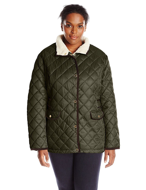 Nautica Women's Plus-size Diamond Quilted Barn Jacket ...
