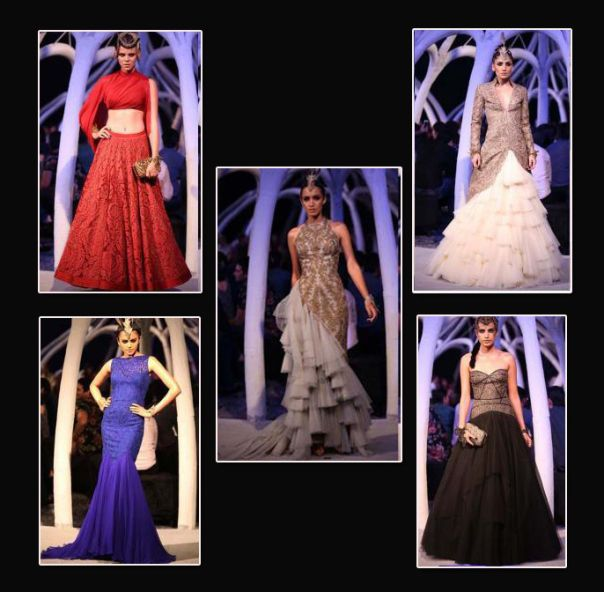 The exotic range also had accessories, such as crowns, handcuffs, brooches for a complete modern bridal look. Another thing which sets this collection apart from the normal wedding wear is the choice of color palette.  They have used blue, grey, beige and black colors, which is unusual and different from the bright colors which are a norm for an Indian wedding. http://fashiontrendsandtipsblog.wordpress.com/2014/07/21/rani-sultanate-winter-bridal-collection/