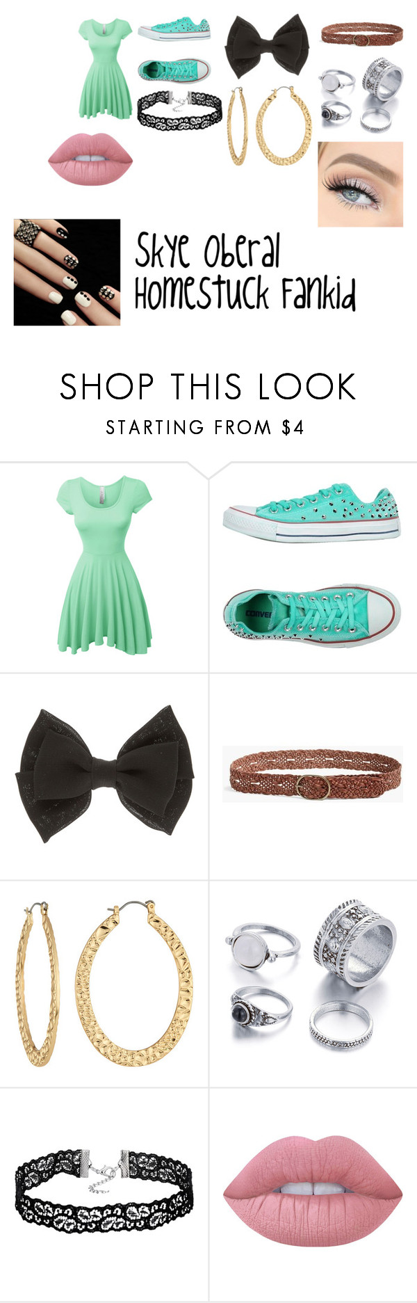 """""""Skye Oberal"""" by radioactivegreenyt on Polyvore featuring LE3NO, Converse, Lucky Brand, Fragments and Lime Crime"""