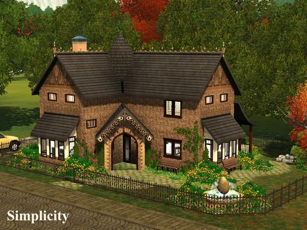 Simplicity Unique Cottage By Demented Designs Sims 3 Downloads Cc Caboodle Sims House Design Sims Building Sims