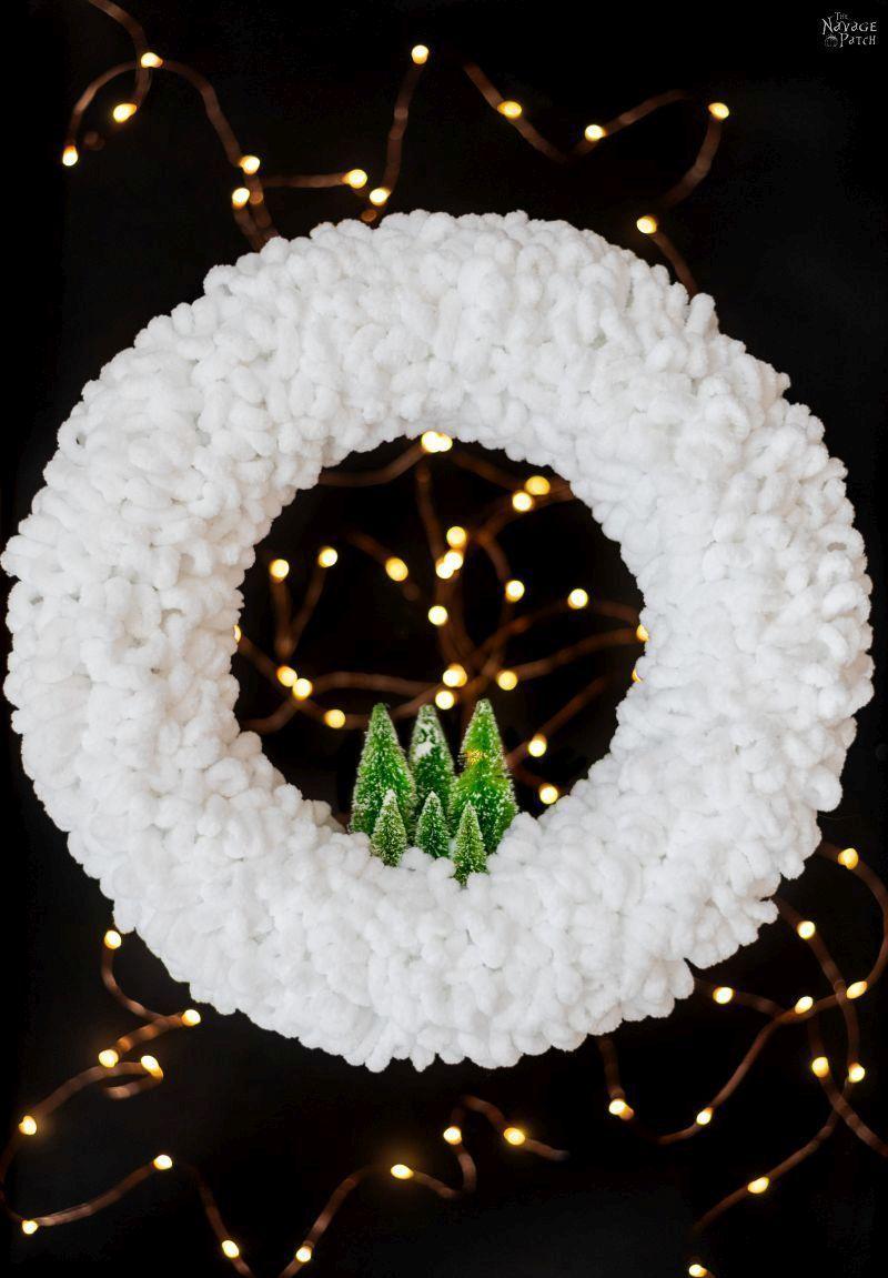 Loop Yarn Wreath - An EASY DIY Winter Wreath DIY Winter Loop Yarn Wreath   The easiest DIY winter wreath ever   How to make a loop yarn wreath in under 30 minutes   DIY upcycled Christmas decorations   Repurposed Loopity loop yarn    