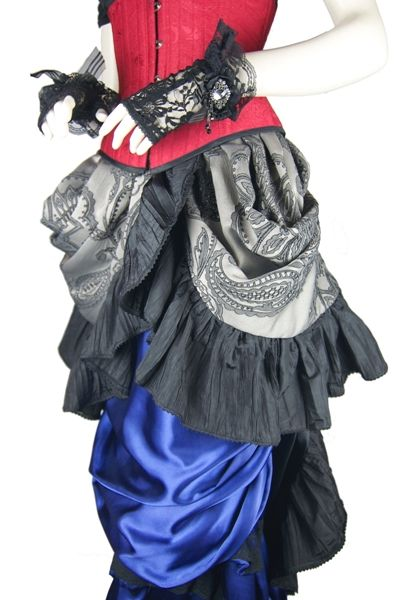 Red Brocade Waspie corset. Finger less lace gloves are the Bedazzled lace gloves.