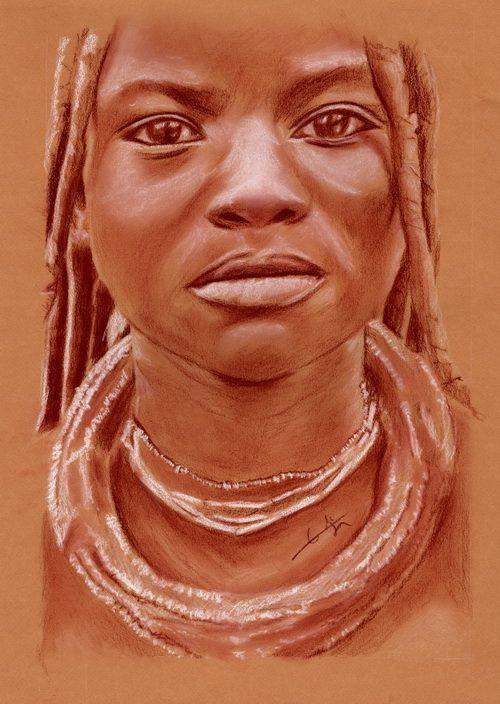 portrait sanguine jeune fille himba 120809 papier canson. Black Bedroom Furniture Sets. Home Design Ideas