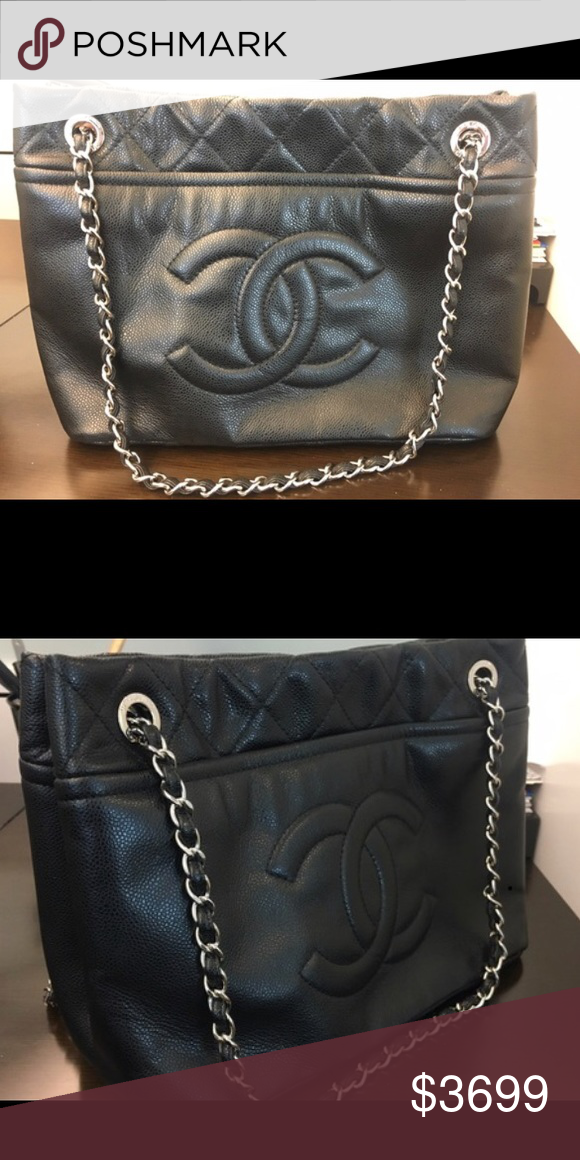 34134d451f04b5 Authentic Chanel Bag Beautiful soft, clean, leather! This is a big bag with  two large side pockets and two pockets inside. Comes with box, bag, ...