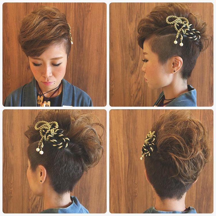 刈り上げ女子 お祭りヘア その2 飾りが可愛いのです 素敵でした