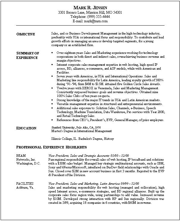 marketing objectives for resume examples
