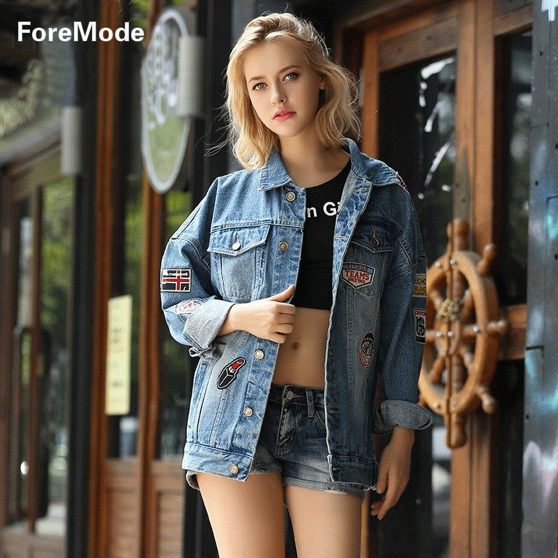 foremode 16 Korea Loose Jeans Jacket Blouse Badge Style Denim ...