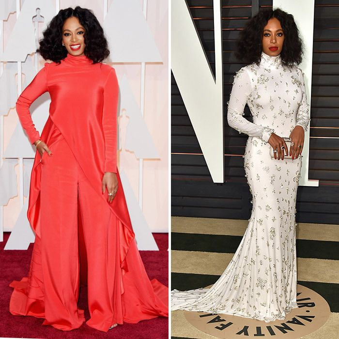 Oscar outfit changes: Red carpet vs. after-party looks: Solange Knowles in Christian Siriano (L) and Naeem Kahn (R). Photo © Getty