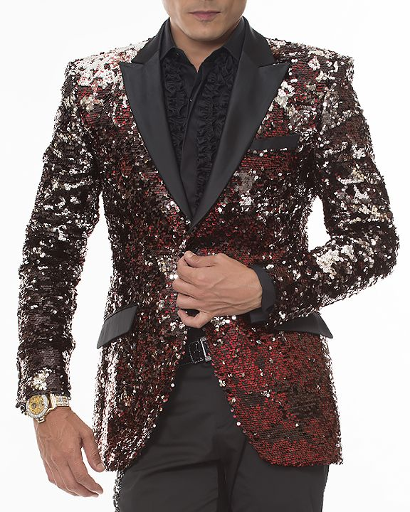 cd3cdcfd1 Angelino men s sequins blazer with black satin lapel and pocket flaps. Two  front single buttons