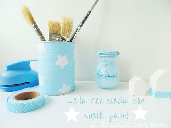 Lata decorada con chalk paint casera Aprender manualidades es