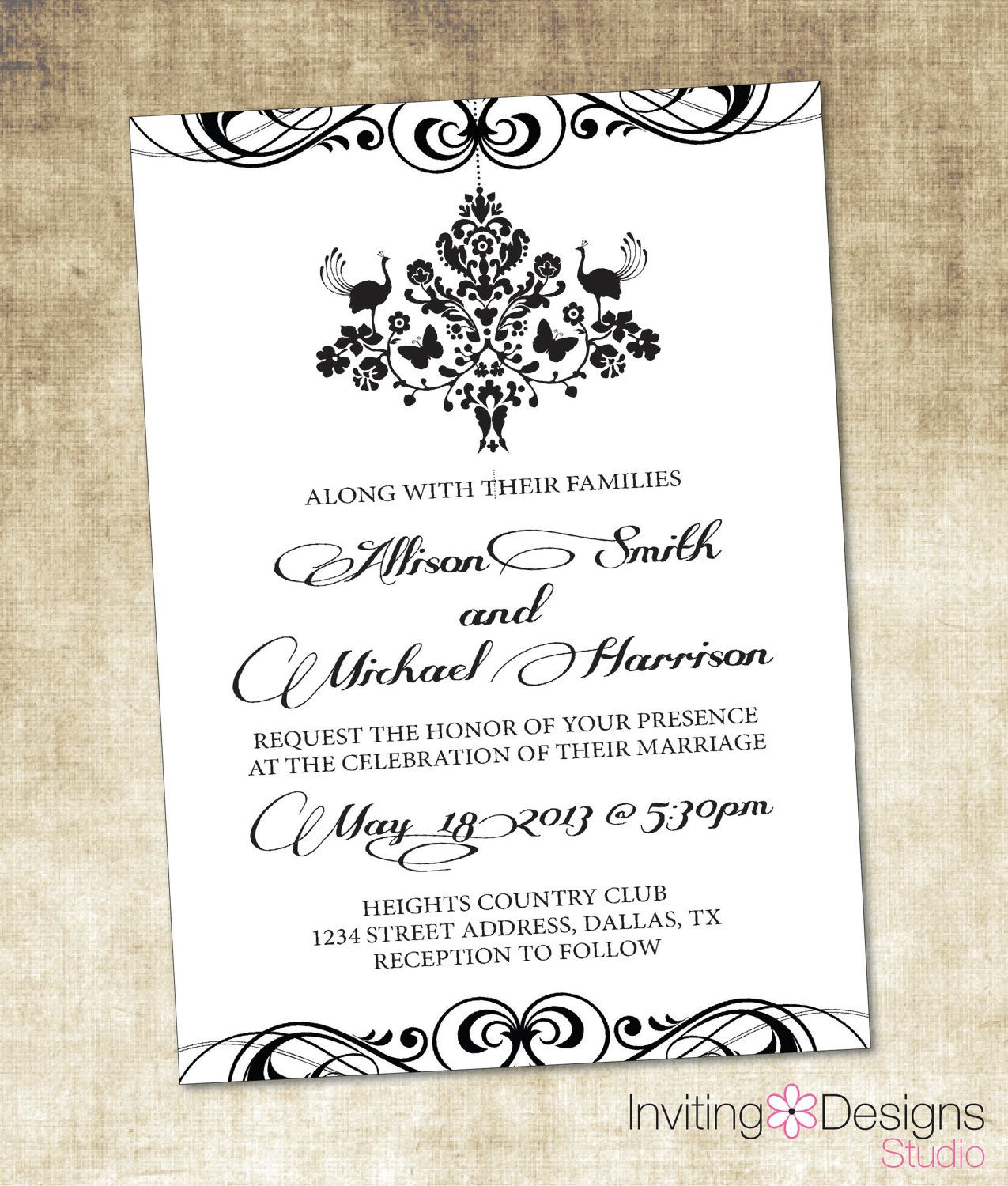 Chandelier Wedding Invitation Damask By Invitingdesignstudio