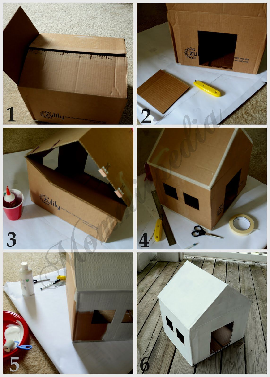 Dog House From A Recycled Box Cat House Diy Cardboard Cat House