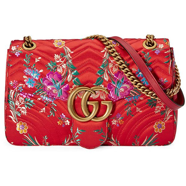 Gucci GG Marmont Medium Jacquard Shoulder Bag (12.375 DKK) ❤ liked on Polyvore featuring bags, handbags, shoulder bags, red metallic, quilted chain shoulder bag, quilted purses, red shoulder bag, shoulder handbags and floral handbags