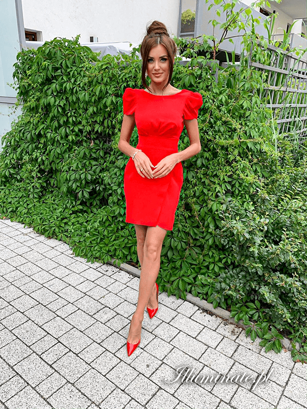 Jolie Czerwona Krotka Sukienka Wesele Chrzest Fashion Red Dress Dresses