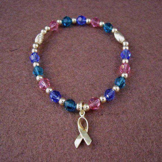 e9382574c8859 Thyroid Cancer Awareness Bracelet - Swarovski Austrian Crystals and ...