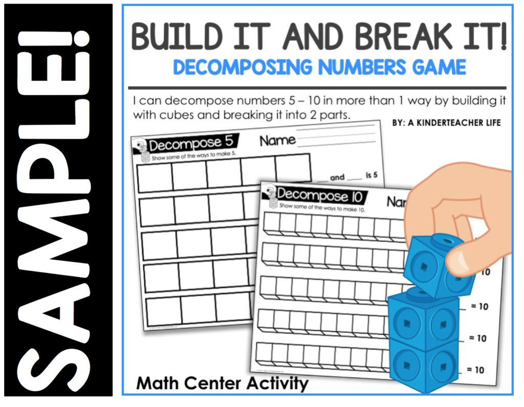 Decomposing Numbers Worksheet For Kindergarten