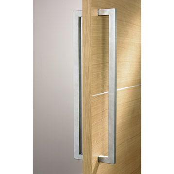 Poignee inox bâton double carré pour porte de toute largeur IDEE