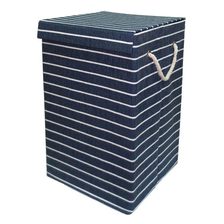 The Range Pacific Stripe Laundry Basket Blue Laundry Basket