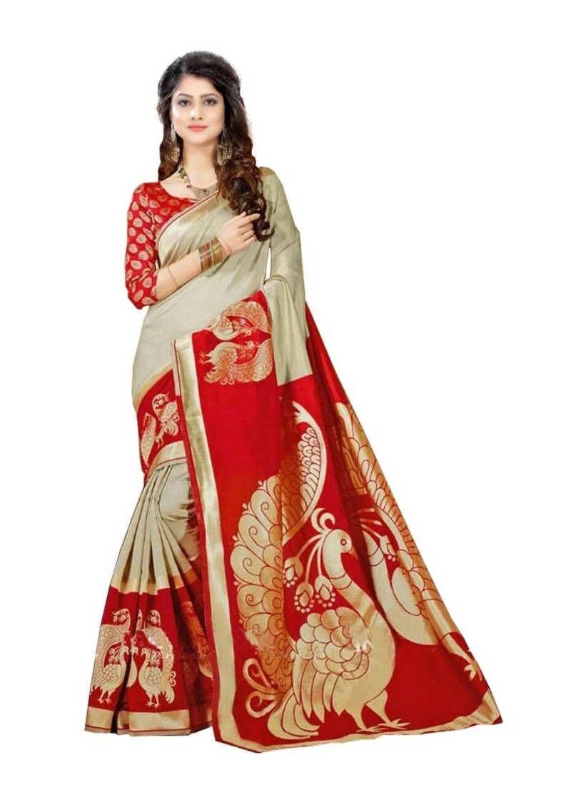 c8dbbe499f3 Red designer printed saree with blouse in 2019
