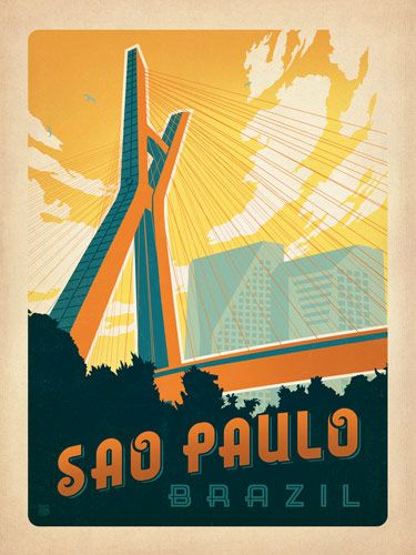 Brazil Sao Paulo Our Latest Series Of Classic Travel Poster Art