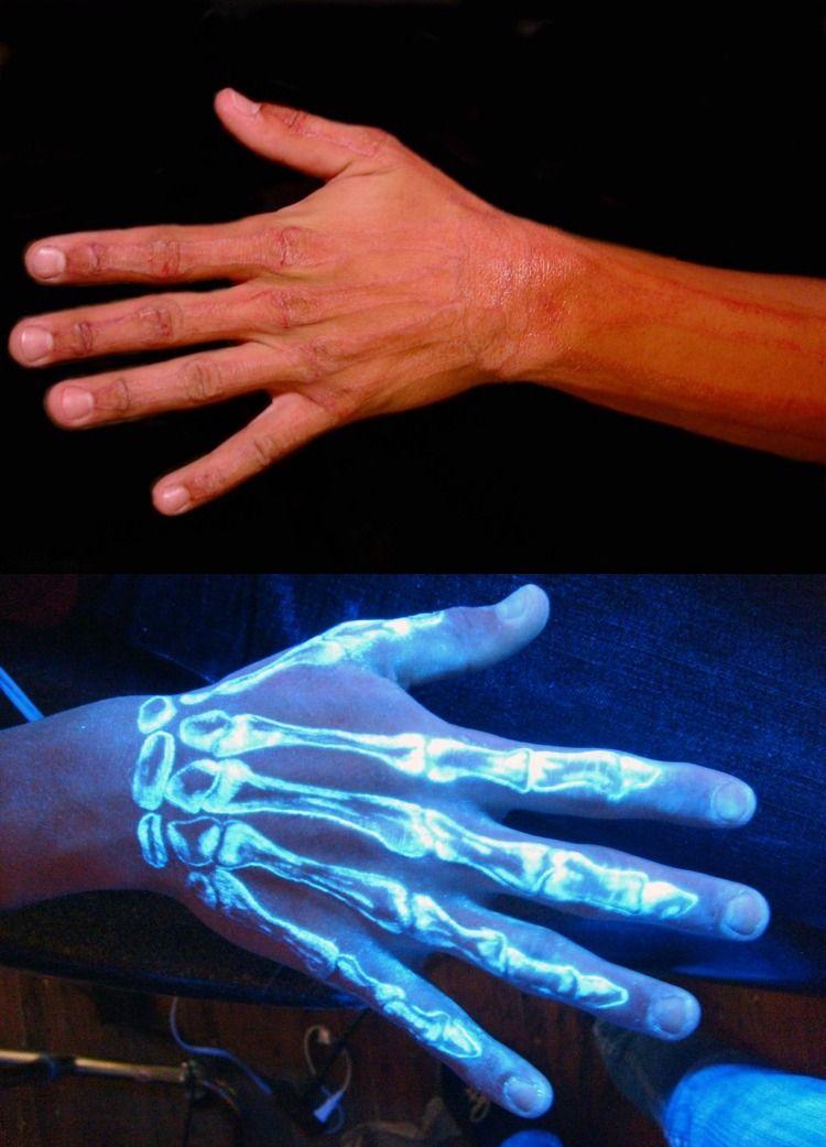 Schwarzlicht Tattoo Farbe Hand Arm Skelett Floureszent Tattoos