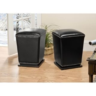 @Overstock - Never run out of chairs for your guests with these comfortable black ottomans by Mason. Perfect for the living room, bedroom or dining room, these leather ottomans come in a set of two. Conveniently use these for putting your feet up or for sitting on.http://www.overstock.com/Home-Garden/Mason-Bicast-Leather-Black-Ottomans-Set-of-2/4141684/product.html?CID=214117 $240.99