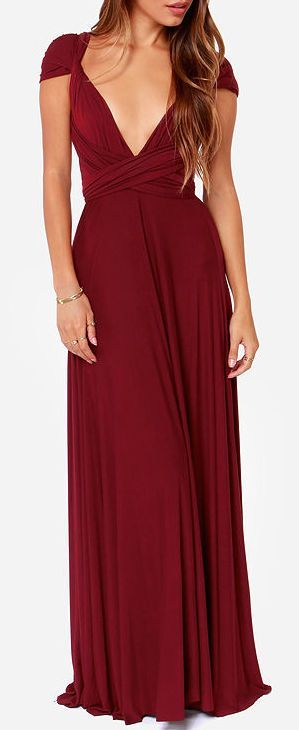 LULUS Exclusive Tricks of the Trade Burgundy Maxi Dress ...