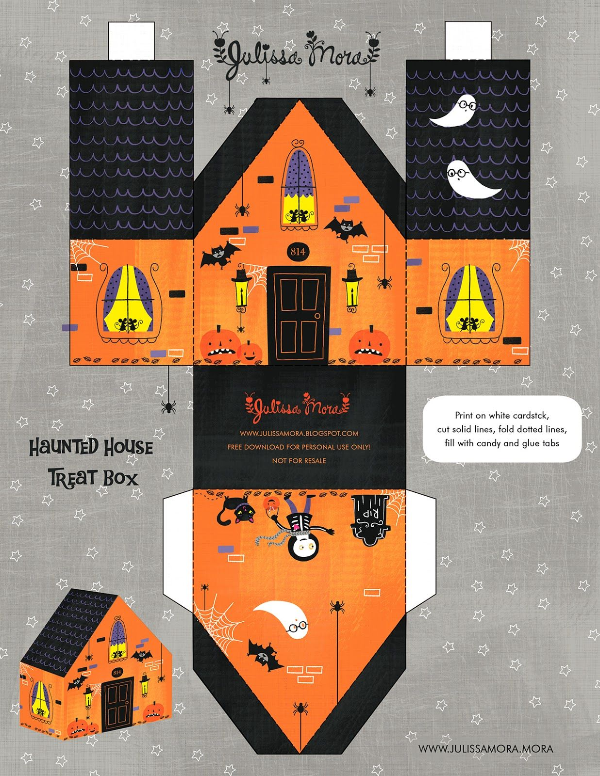 Halloween haunted house printable by Julissa Mora Halloween Free