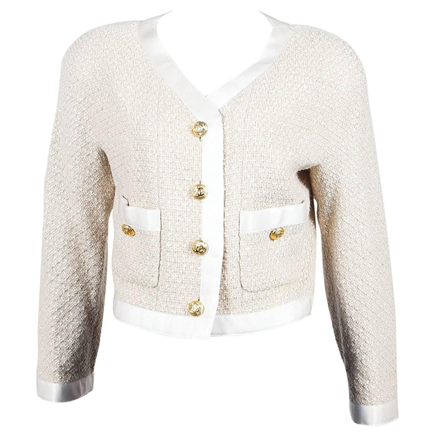 Vintage Chanel Beige Wool Silk Textured Knit 'CC' Button Cropped Jacket 1990