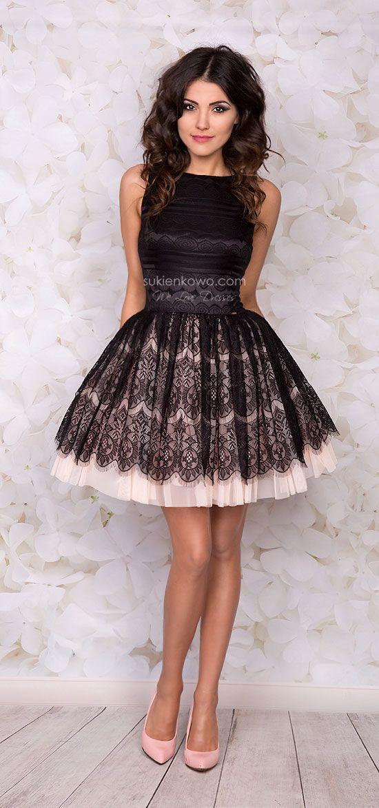 6ad83a5a209341 Sukienkowo.pl - SANDRA rozkloszowana czarno różowa sukienka z koronki