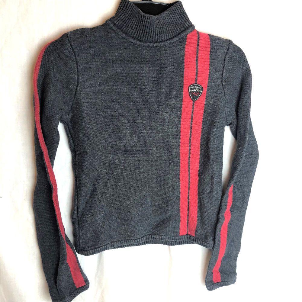 e022db2a4 Ralph Lauren Polo Jeans Boys Sweater Small Gray Red Stripe ...