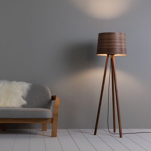 The stunning wooden helix floor lamp designed and hand crafted by the tom raffield studio in cornwall using sustainably sourced wood