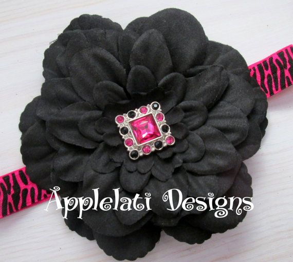 Beautiful Custom Peony Flower With Bling Button & by applelati,