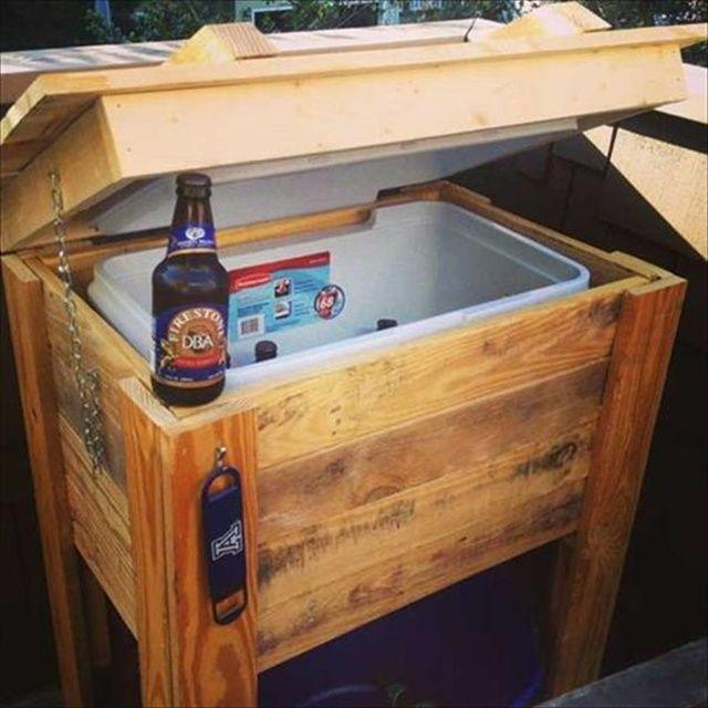 12 DIY Wooden Pallet Cooler Design | Pallet cooler, Wooden ...