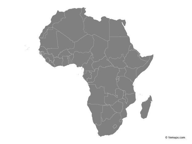 Grey Map Of Africa With Countries Free Vector Maps Africa Map Map Vector Africa Continent Map