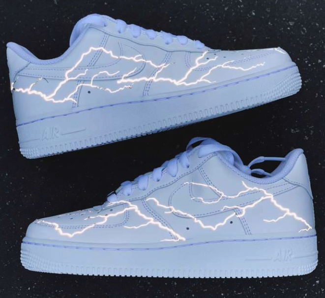 Reflective Grey Lightning Bolt AF1 Nike shoes air force