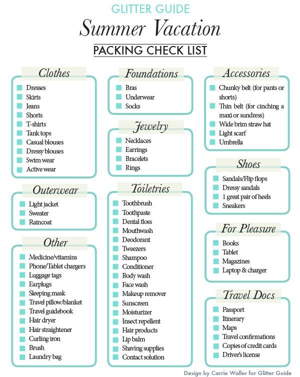 Glitter Guide Summer Holiday Packing List Summer Vacation Packing Vacation Packing Checklist Packing List For Vacation