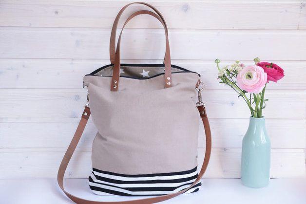 Canvastaschen - ***CANVAS Tasche beige und gestreift *** - ein Designerstück von hollyundhoney bei DaWanda