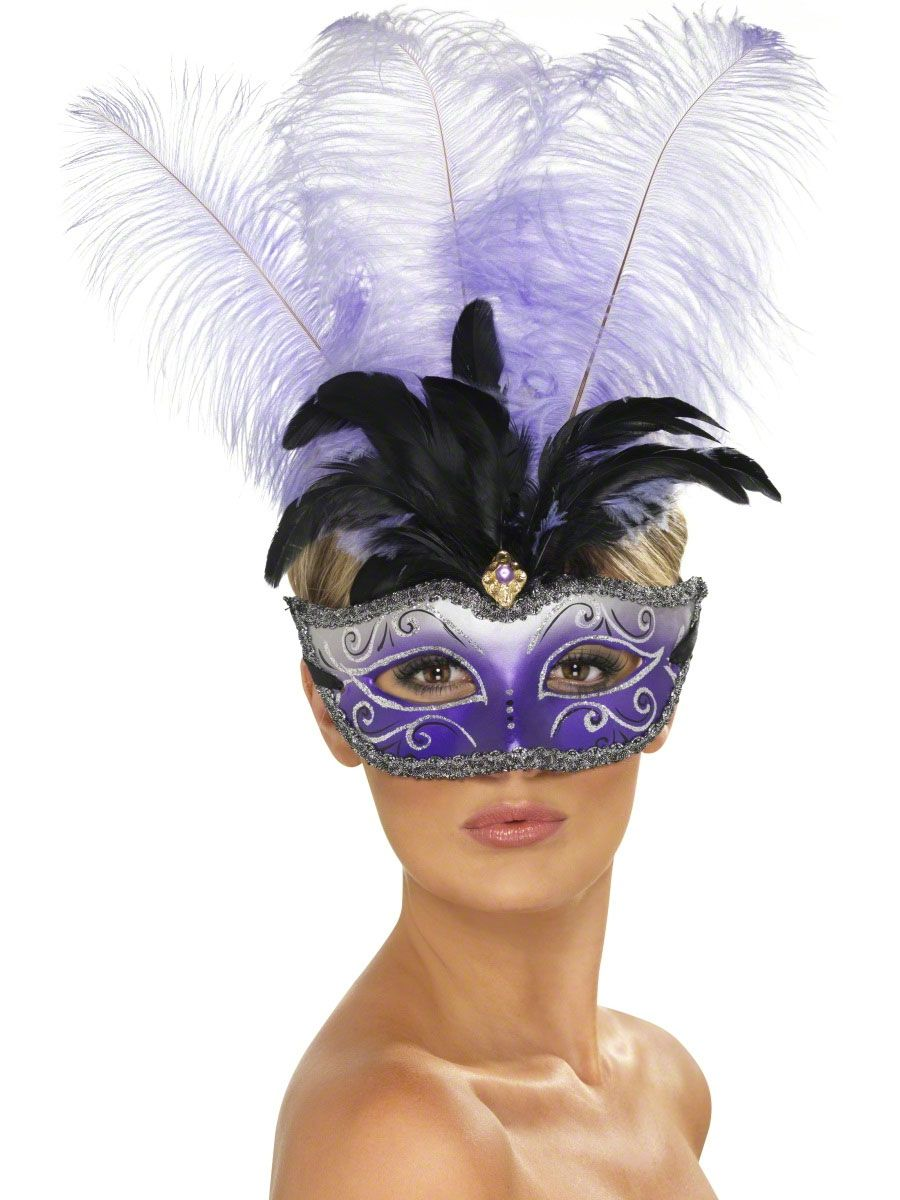 Black Ornate Columbian Eye Mask With Feather Masquerade Fancy Dress