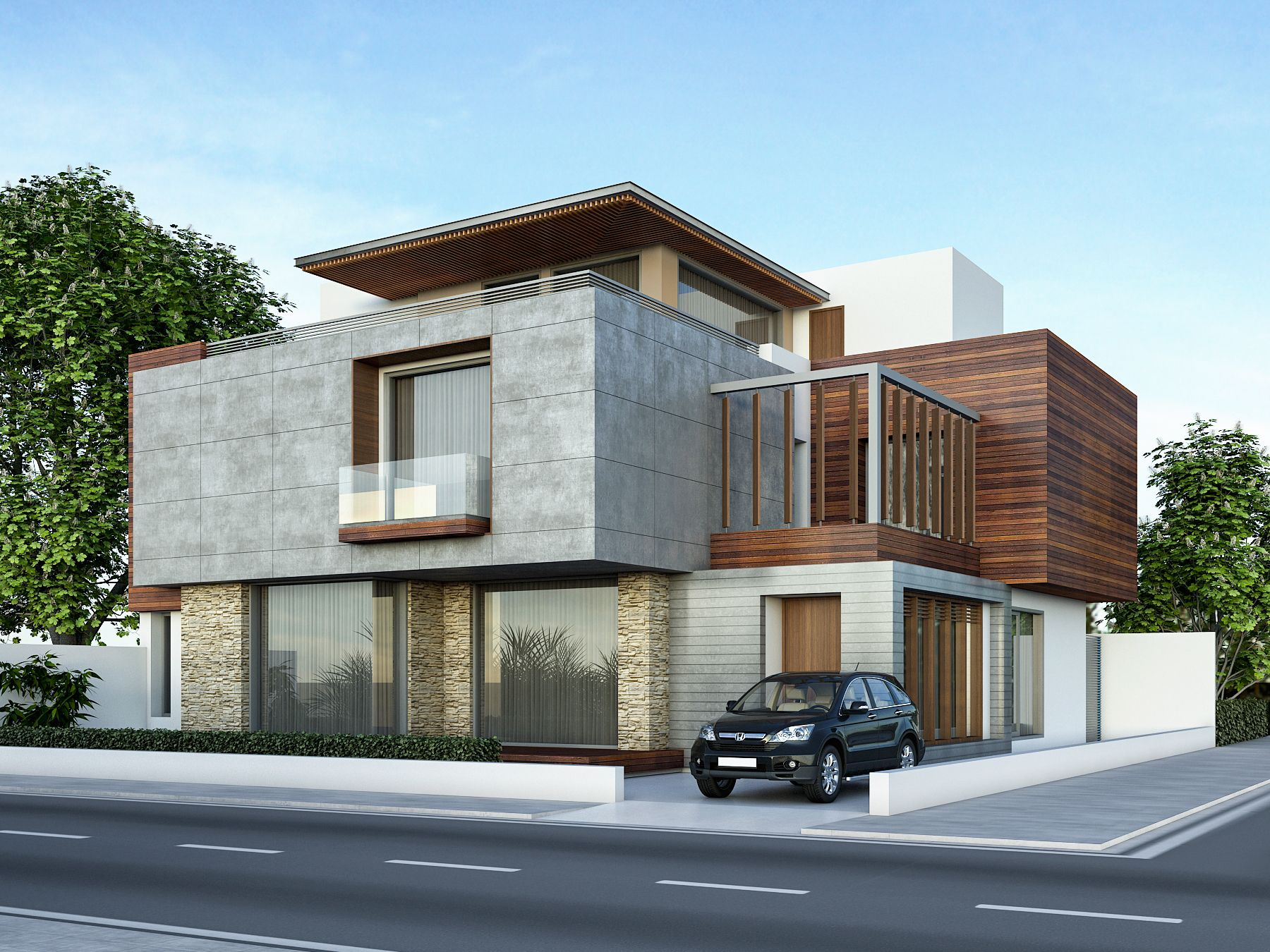 Hausfrontdesign in rajasthan architectural previsualization renders  bungalow designs exterior