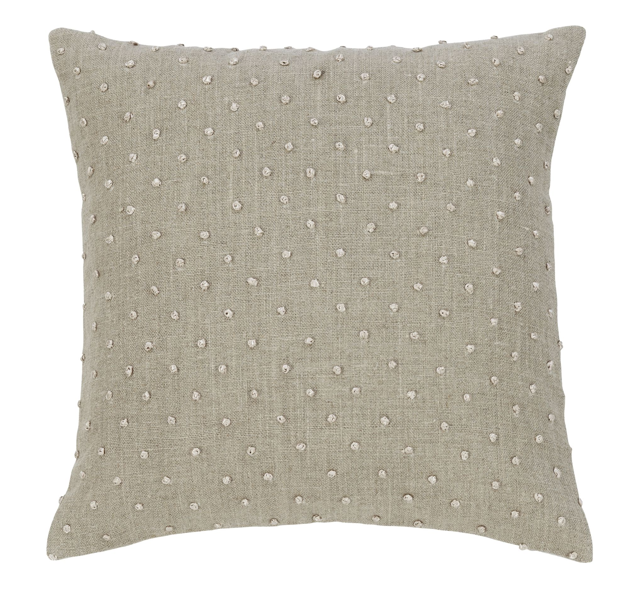 Linen with embroidered knot detail. Classic styling. www.heartmyhome.com.au