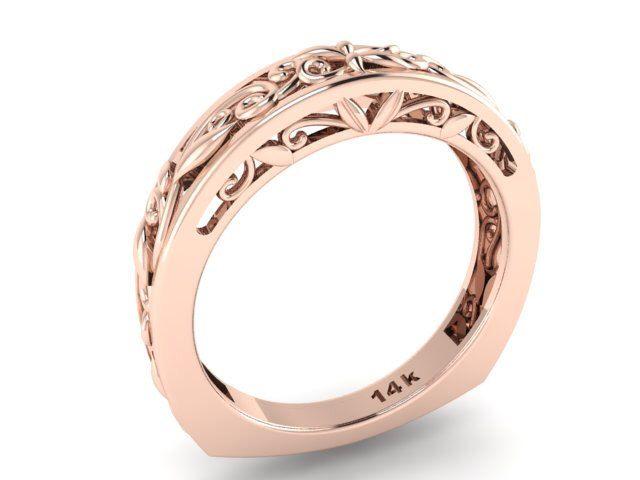 Euro Shank Wedding Band Rustic Style Leaves And Vine Engagement Feminine Ring 14k Rose Gold Matching