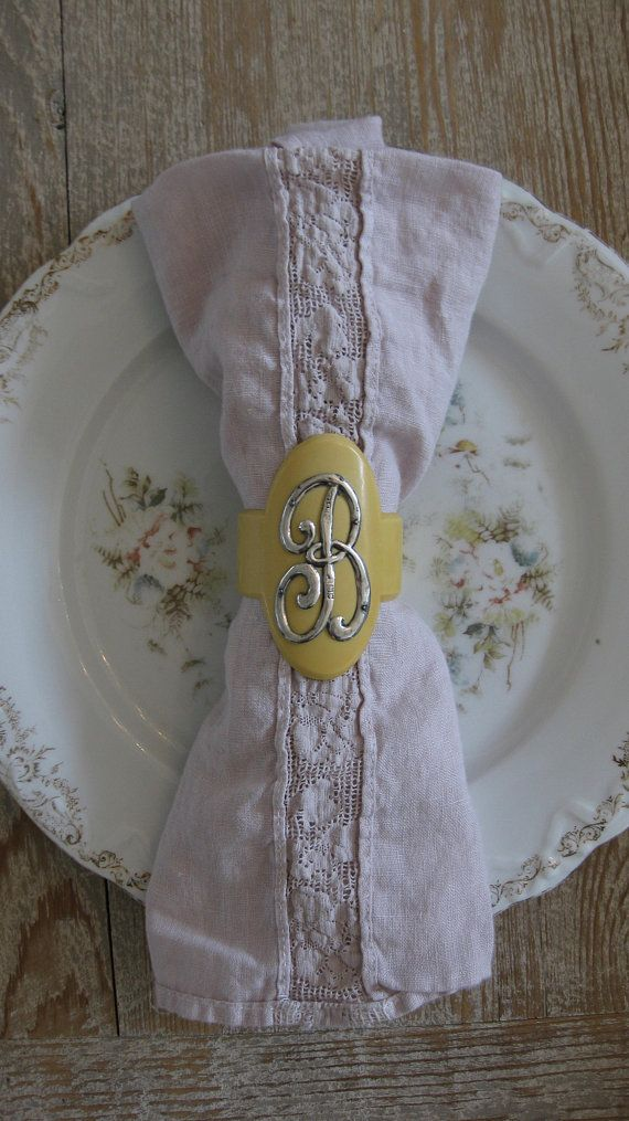 Antique Napkin Ring Celluloid Sterling Silver Monogrammed B