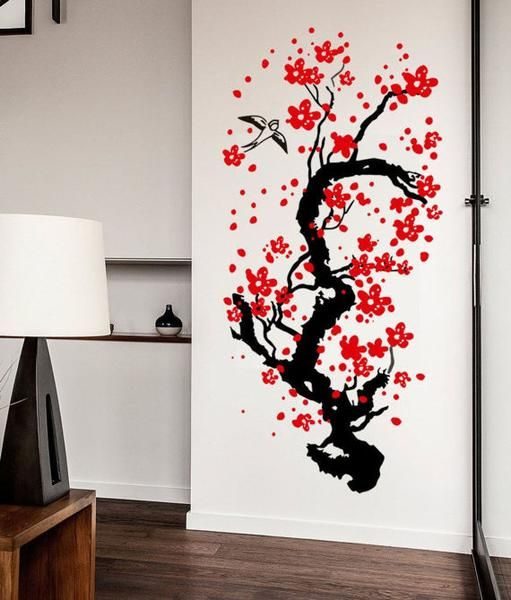 Japanese Cherry Tree Blossom Wall Sticker Decal Art - Adobe Delight ...