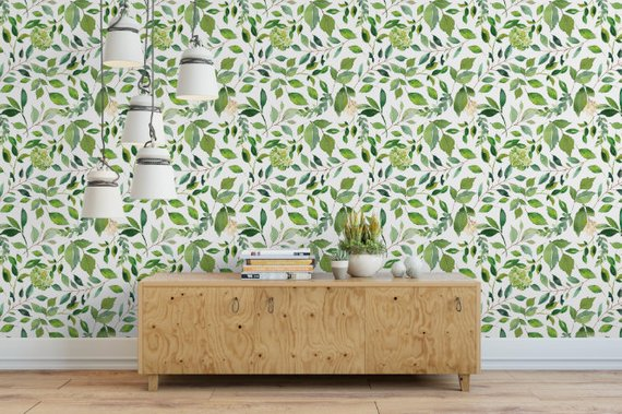 Green Leaves Small Removable Wallpaper Green Floral Peel